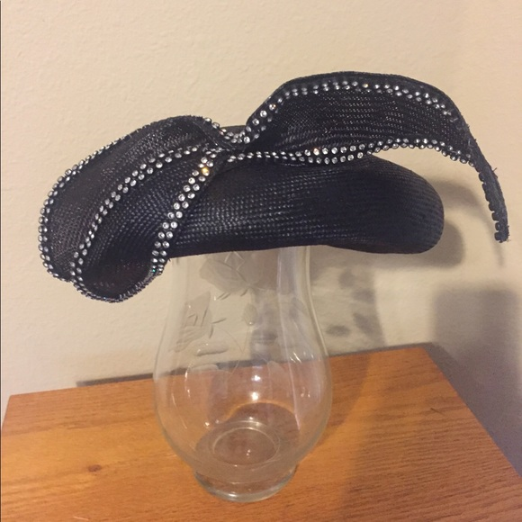 62c21e703227a Jack McConnell Accessories - Vintage finely weaved black straw rhinestone  hat